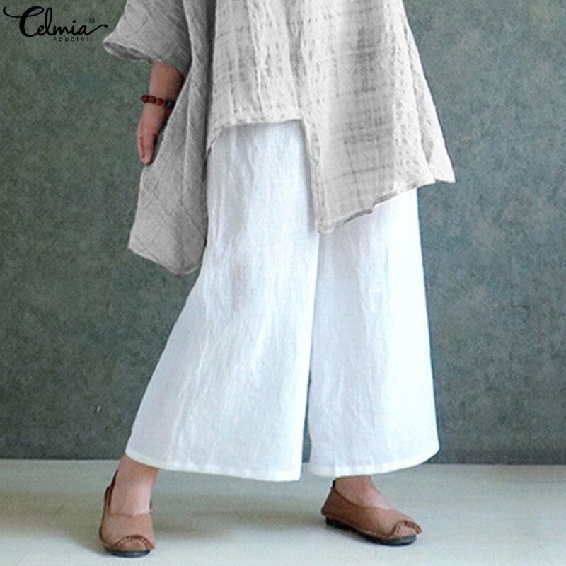 White   Pants   Celmia Women   Wide     Leg     Pants   Casual Solid Elastic Waist Long Female Work Office Baggy Trousers Plus Size Pantalon 5XL