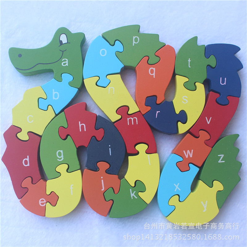 JP005 двойными бортами детей деревянные игрушки Алфавит Номер здание головоломки дракон змея Смешно Цифровой Puzlzle Игры развивающие ...
