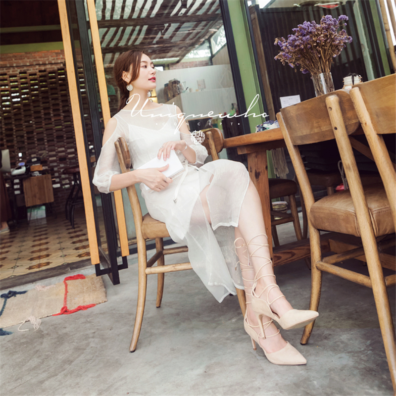 Uniquewho Les Midi Robes Bas Dames Robe Printemps De clé Luxe Élégante Automne Partie Soie Blanc Été Romantique Mince Femmes Pour nYrq7SYP