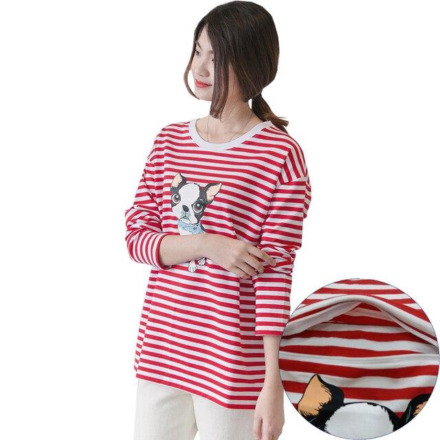 98a228980f2c0 Nursing Long Sleeve Tee Breastfeeding Clothes Summer Stripe Contrast Animal  Dog Print High Quality Postpartum T-shirt