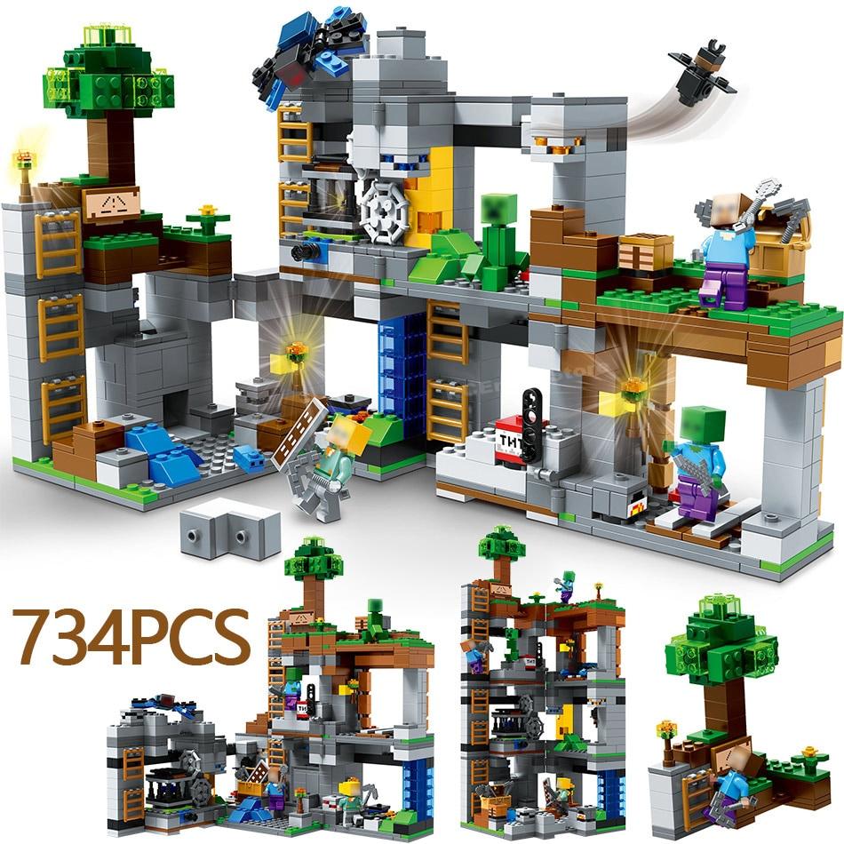 US $30 33 |Winter Holiday LegoINGLYS Minecraft theme The Bedrock Adventures  21147 Building Blocks Education Bricks Toys For Children-in Blocks from