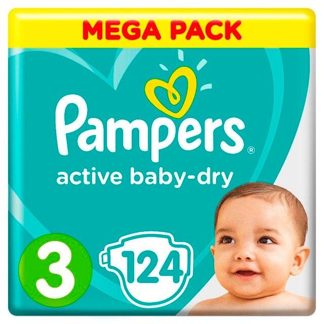 Подгузники Pampers Active Baby-Dry 6-10 кг, 3 размер, 124 шт.