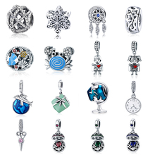 Silver 925 fit Pandora Bracelet Earth Plane Fish Crab Drink Bottle Gift Box Charms CZ Boy Girl Clock Globe Beads for diy Bangles