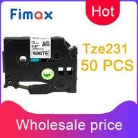 Fimax 50Pcs TZe231 TZe 231 TZ231 12mm Label Tapes Compatible Brother P touch Printer PT1010 PT D210 Tze831 Tze431 Tze631 Tze131