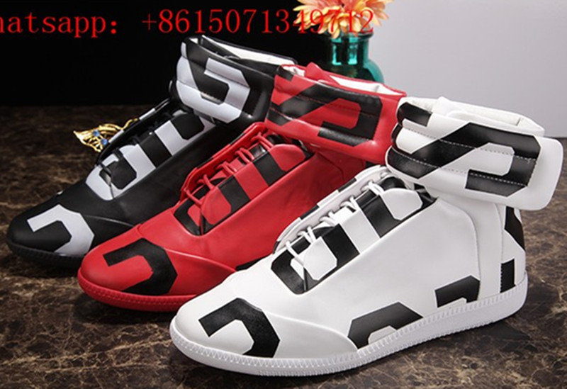 Hot Soft Leather Graffiti Ankle Hook & Loop Strap Men Casual Shoes Lace Up Fashion Comfortable Round Toe High-Top Men Flat Shoes front lace up casual ankle boots autumn vintage brown new booties flat genuine leather suede shoes round toe fall female fashion