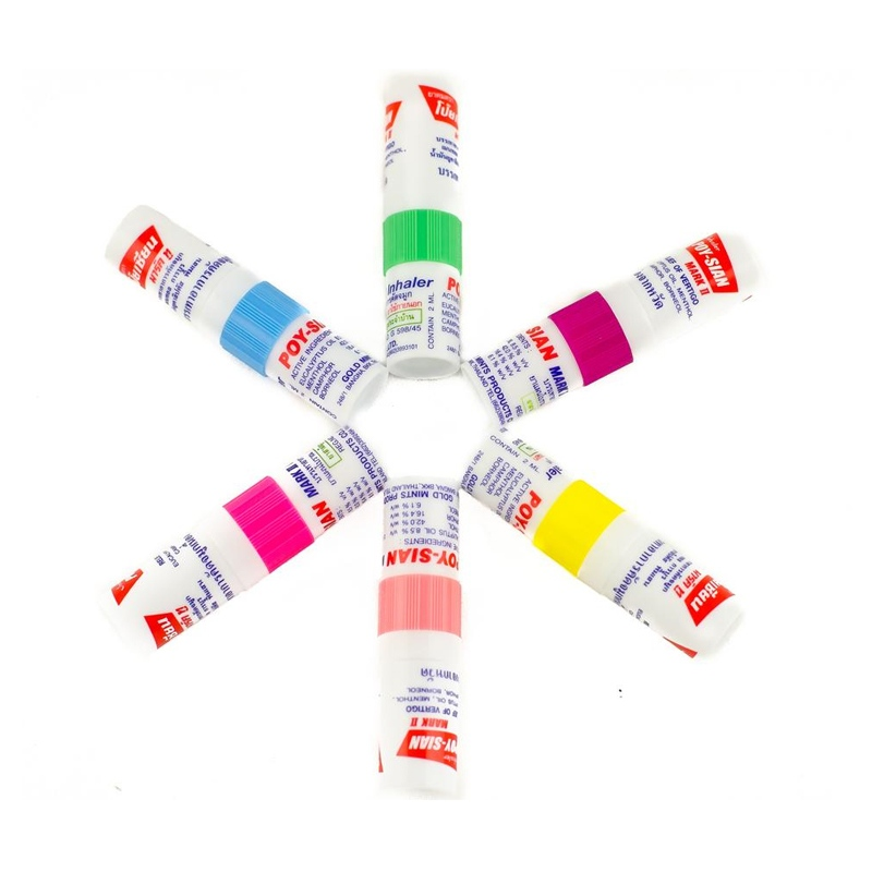 HB MART Store Original Thailand Poy-Sian Mark 2 II Herbal Nasal Inhaler Poy Sian Nasal Inhaler Stick Mint Cylinder Essential Oil Nasal Inhaler