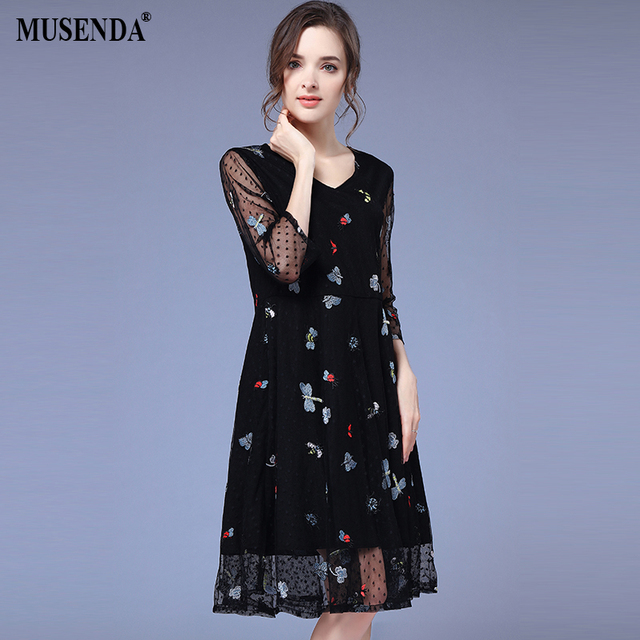 MUSENDA Plus Size Women Black Mesh Embroidery V-Neck Tunics Dress 2018  Summer Sundress Female Ladies Sweet Beach Dresses 4XL 68f62d387907