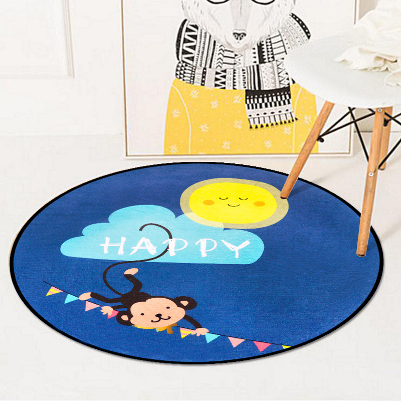Cartoon Cute Monkey Kids Play Game Round Carpet Rugs Crawling Blanket Floor Mats For Living Room Decoration Baby Gifts Tapete