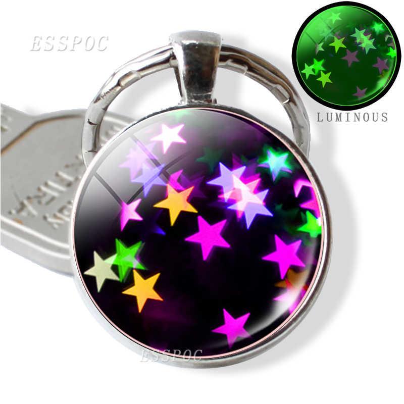 เรืองแสงใน Dark Key Chain Luminous Glass Cabochon จี้เรืองแสงดาวโลหะพวงกุญแจวันแม่ Handmade Warm- หัวใจของขวัญ