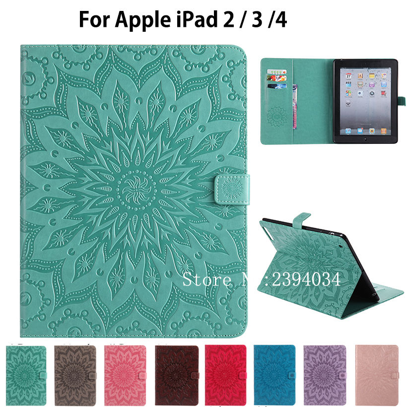 For Apple iPad 2 3 4 Case Fashion Tablet Sun Embossed PU Leather Flip Stand Case For iPad2 iPad3 iPad4 Cover Funda Skin Shell business retro leather case for ipad 2 3 4 case for ipad2 ipad3 ipad4 flip stand smart cover protective shell skin funda