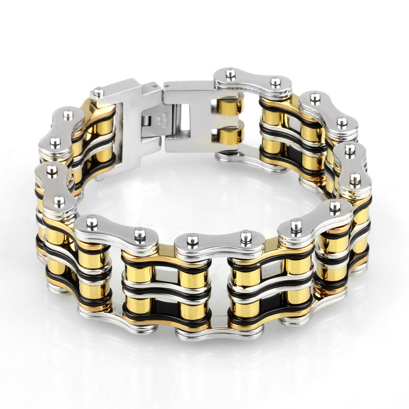21mm Wide Double Line Motor Biker Link Chain Bracelet Mens Gold Black Silver Motorcyle Bangle Stainless Steel Fashion Jewelry