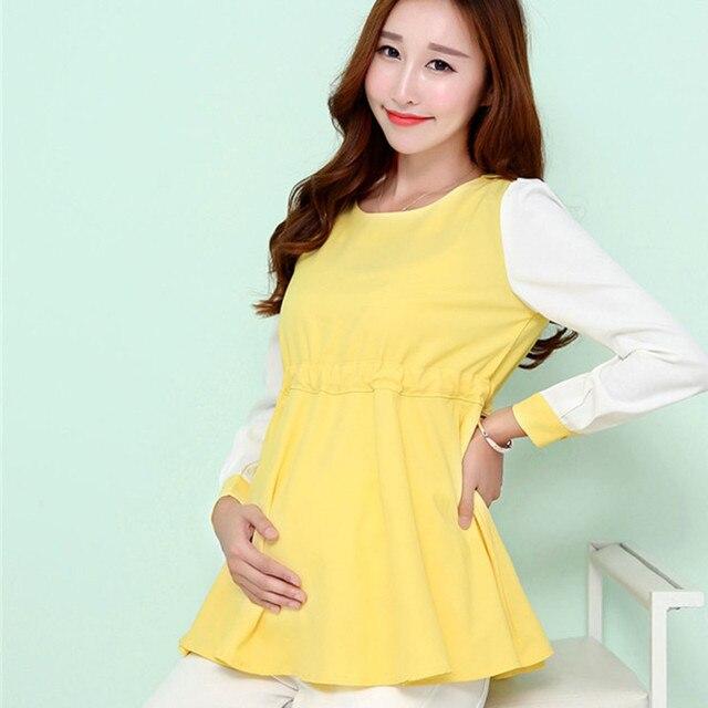 Мода для беременных беременные одежда с длинным рукавом шифон блузка свободный стиль лоскутные рубашки плюс размер для беременных женщин 1506