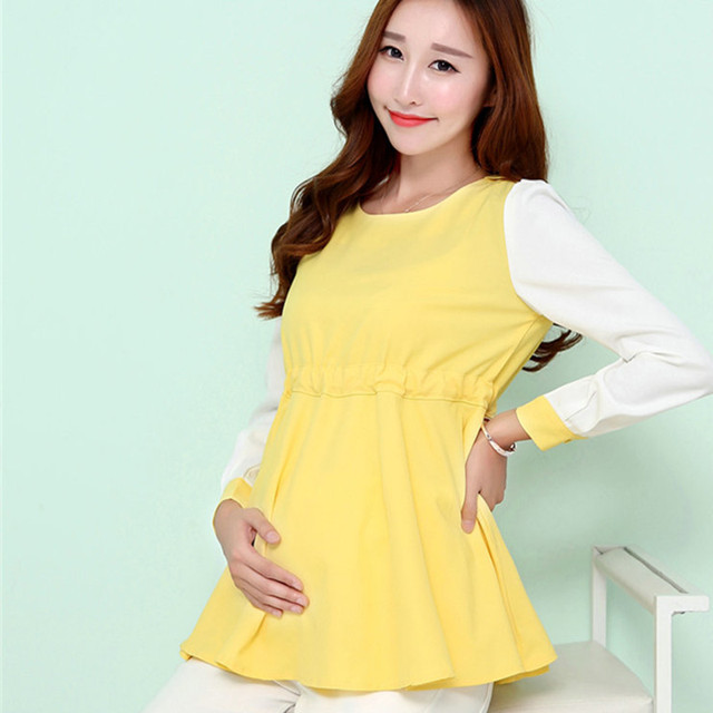 20529739eae Fashion maternity pregnant clothing long sleeve chiffon blouse loose style  patchwork shirts plus size for pregnancy