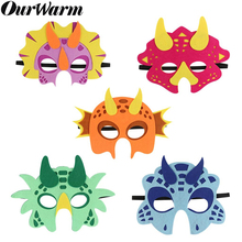 OurWarm Jungle Birthday Party Dinosaur Masks Cute Animal Backdrops Felt Cosplay Mask Photo Booth Props Boys and Girls