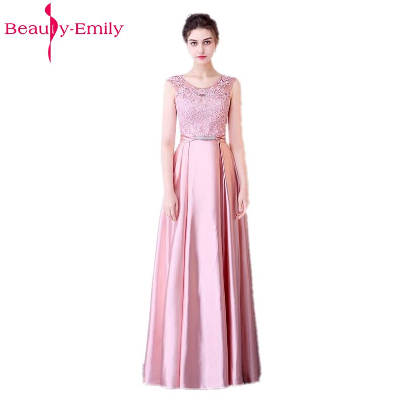 Beauty Emily Long A Line Beads Lace Dark Pink Bridesmaid Dresses 2019 Women Wedding Party Prom Women Dresses Free Shipping