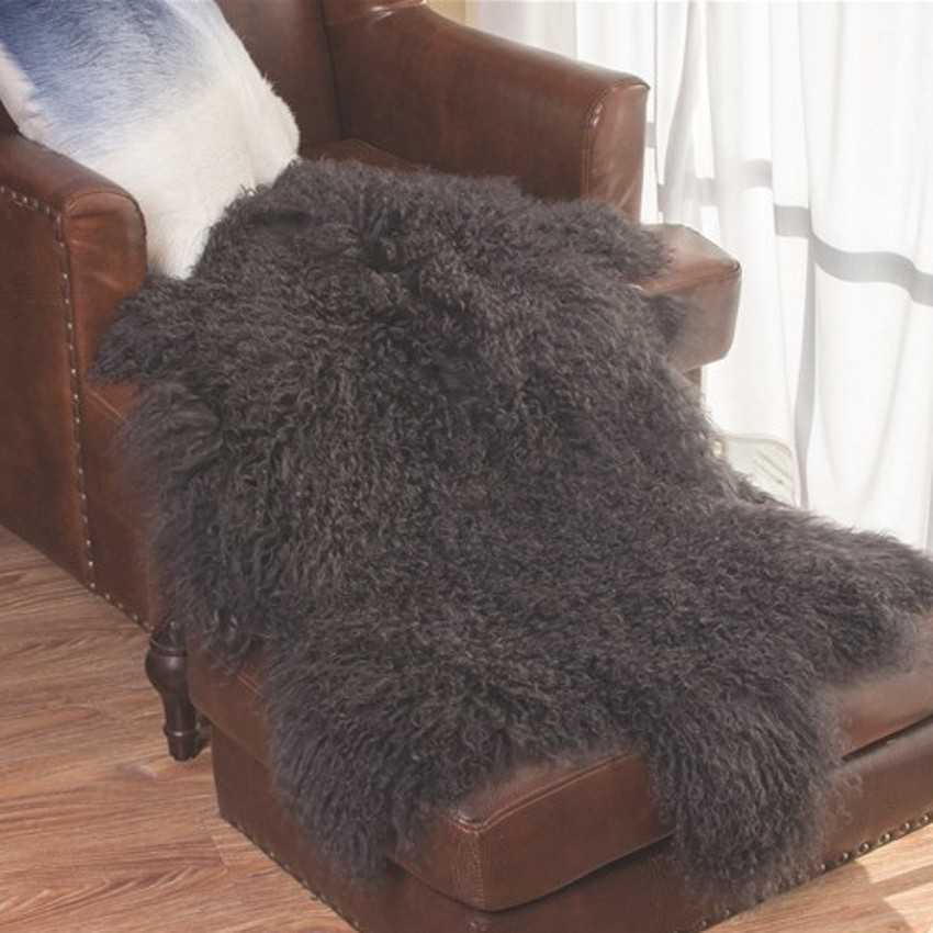 1P 90*50cm  free cut shaped  genuine curly Tibet sheepskin rug , sheep skin fur cushion in dark gray color , decoration fur mat