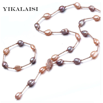 YIKALAISI 2017 natural  pearl jewelry set for women fashion top quality real silver necklace&bracelet  best price for women