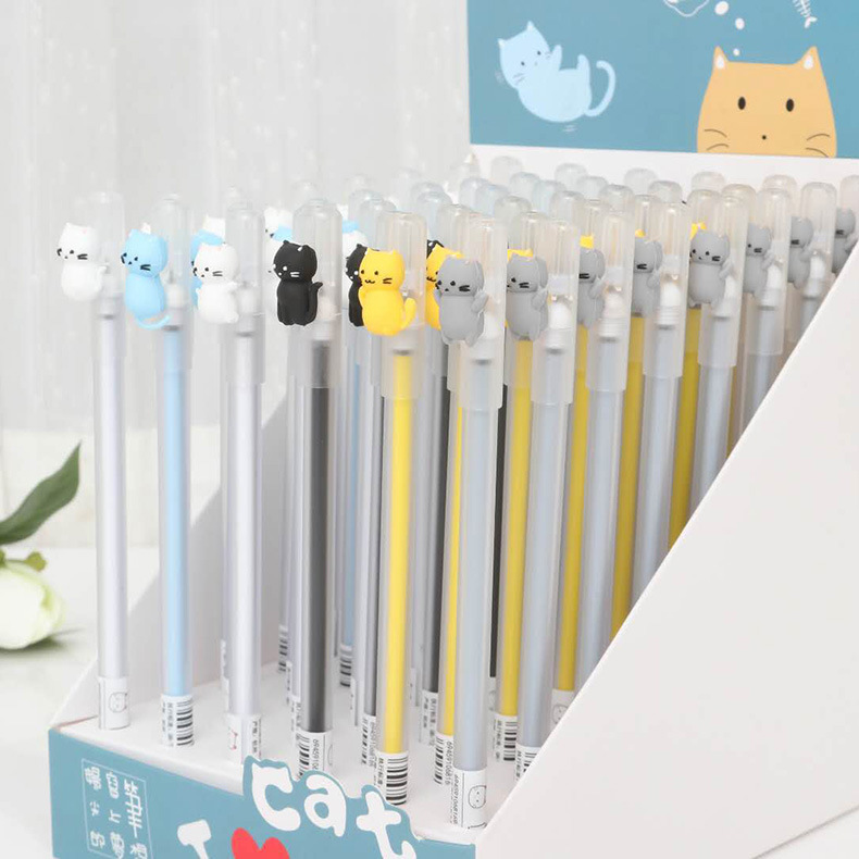 48 pcs Gel Pens Cartoon cat black colored kawaii gift gel-ink pens pens for writing Cute stationery office school supplies b32 4x cute kawaii black cat gel pen kawaii writing stationery creative gift school office supply 0 5mm