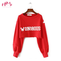 2018 New Fashion Women Vintage Sexy Off Shoulder Short T Shirts Tees Letter Printing Long Sleeved T shirts females Dance Clothes