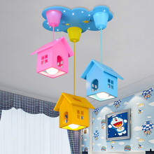 creative cartoon wooden house ceiling lights modern art deco LED cute children bedroom lamp fixture nursery Eye protection Lamp цена