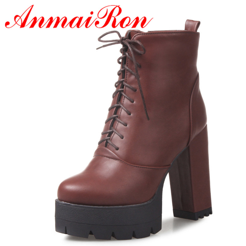 ANMAIRON New Fashion Autumn/Winter Ankle Boots for Women Lace-Up Round Toe Square High Heels Fashion Sexy Shoes Large Size 34-42 enmayla ankle boots for women low heels autumn and winter boots shoes woman large size 34 43 round toe motorcycle boots