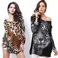 Más el Tamaño Del Leopardo de Las Mujeres Vestidos Vestidos de 2016 Sexy Lady Tiger Impreso Vestido de Gran Tamaño Grande Ropa de Verano Ropa Casual Negro