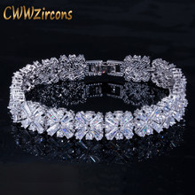 CWWZircons Women Fashion Jewelry Gorgeous Silver Color Spring Flower Cubic Zirconia Connected Tennis Bracelet for Wedding CB010(China)