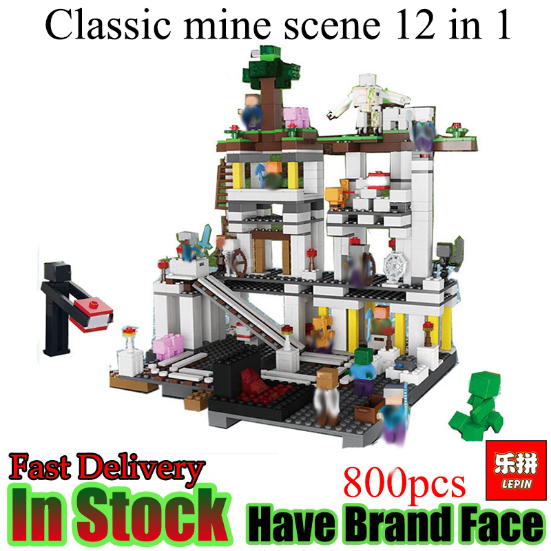 Lepin Minecraft  800Pcs Classic mine My World figures Model Building Blocks Bricks Educational fun Toys For Children gifts new 4pcs set minecraft sword espada models figures my world building blocks model set figures compatible toys for kids