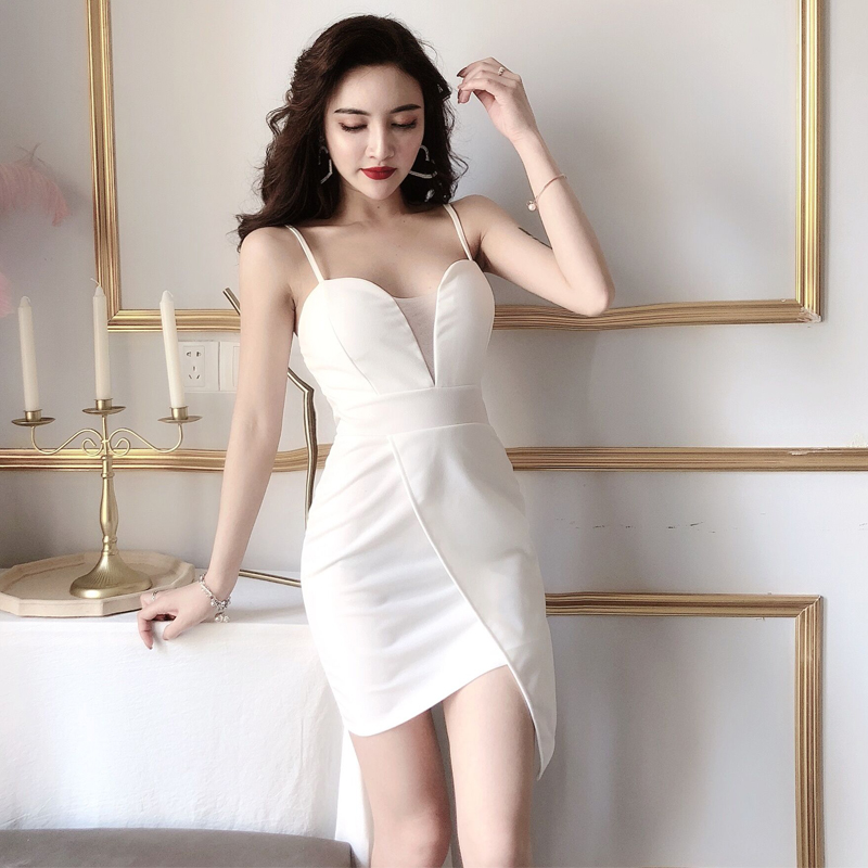 Women 39 s Dress Sexy Nightclub Sling Dresses V neck Slim High Waist Irregular Sleeveless Bodycon Dress in Dresses from Women 39 s Clothing