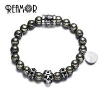 REAMOR Rock Phong Cách Vòng Sắt Pyrit Tự Nhiên Stones Bracelet Thép Không Gỉ Skull Head Hạt Strand Bracelets cho Nam Giới Trang Sức