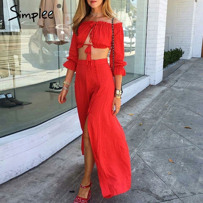 HTB13Mv.QVXXXXXzXVXXq6xXFXXXN - 2PC Women's Summer Sexy Tassel  Boho Ruffles Button Split Dress Off Shoulder Long Maxi Cocktail Party Dress