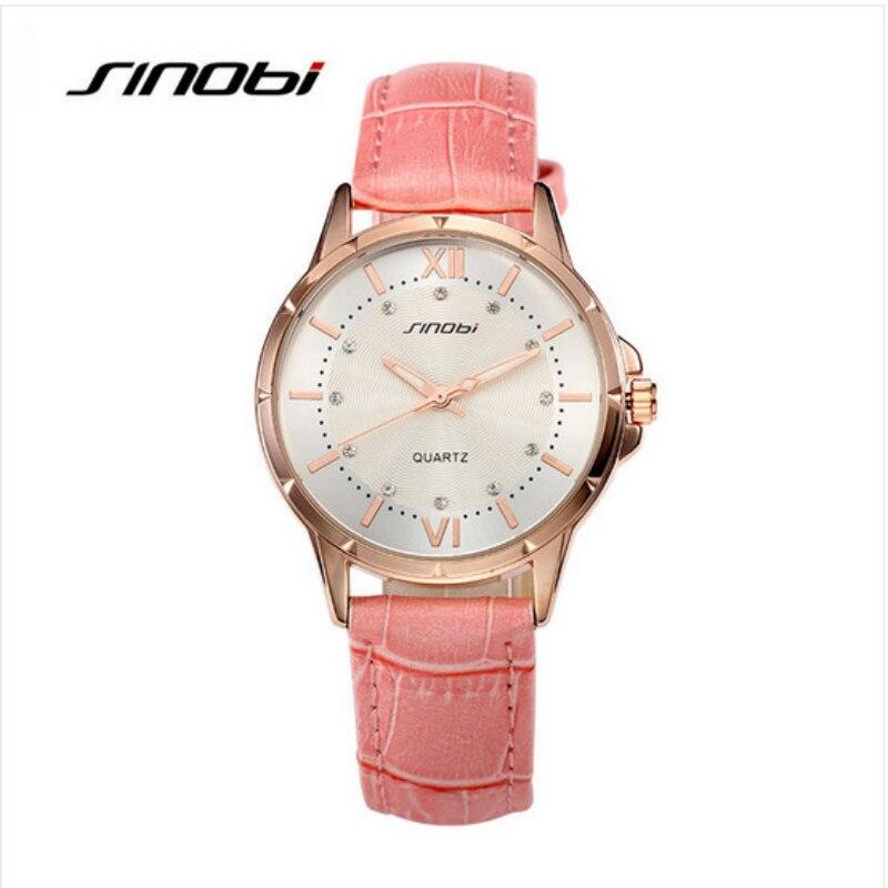 SINOBI бренд класса люкс кристалл часы Для женщин часы кожаные женские часы женские Модные часы saat montre femme relogio feminino