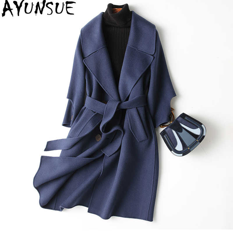 AYUNSUE Autumn Winter Coat Women 2019 New 80% Wool Coat Female Double Wool Jacket Outerwear manteau femme hiver 37125 WYQ1152