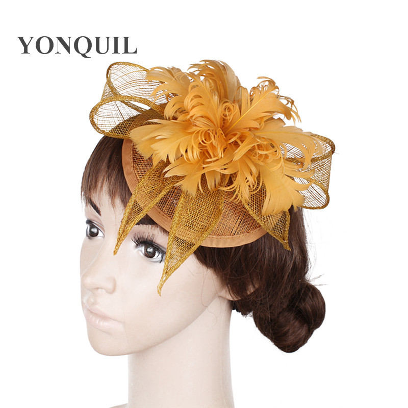 Free Shipping Gold Sinamay Hats Feather Flower Fascinators For Party Hats Bridal Wedding Hair Accessories Cocktail Hats OF153512