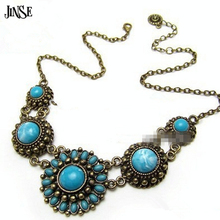 RB145 bohemian handmade jewelry blue flower large bead turquoise necklace 2015  new design hot selling for 40g 1PCS