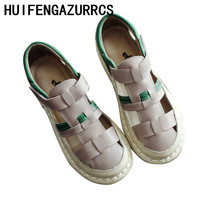 HUIFENGAZURRCS-2019 new self made handmade cowhide antique hollowed braided sandals,new literature and art soft bottom college