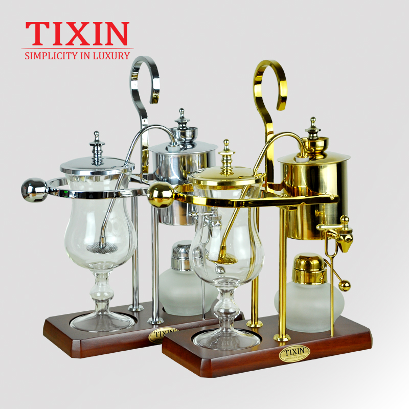 TIXIN Royal Belgium Coffee Pot Stainless Steel Siphon Type Coffee Maker Household Portable Coffee Machine with Grinding Bean Set