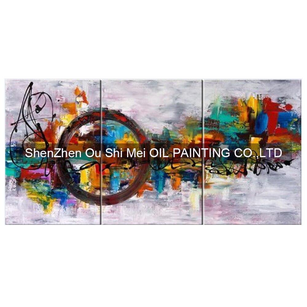 36 92 49 De Réduction Peint à La Main Abstrait Couteau Cercle Peinture à L  Huile Sur Toile Moderne Groupe Paysage Peintures Pour Salon Mur