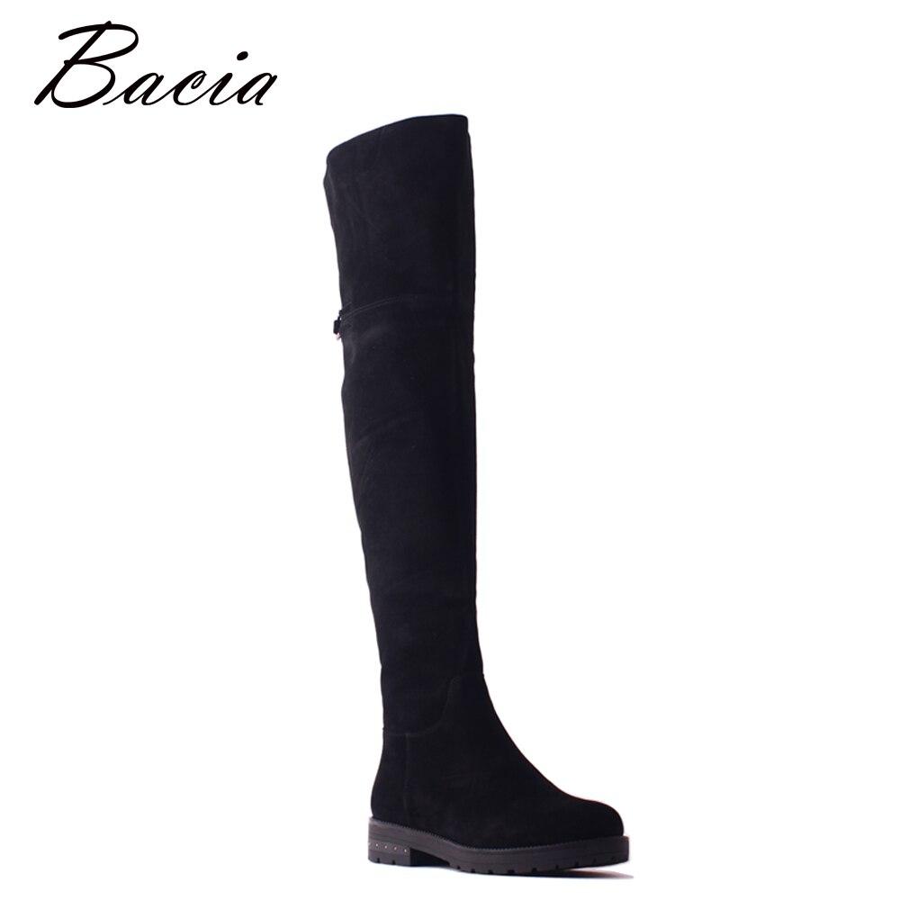 Bacia из овечьей замши Сапоги выше колен (ботфорты) черный толстый каблук Для женщин Обувь с высоким голенищем круглый носок Зимняя шерстяная ...