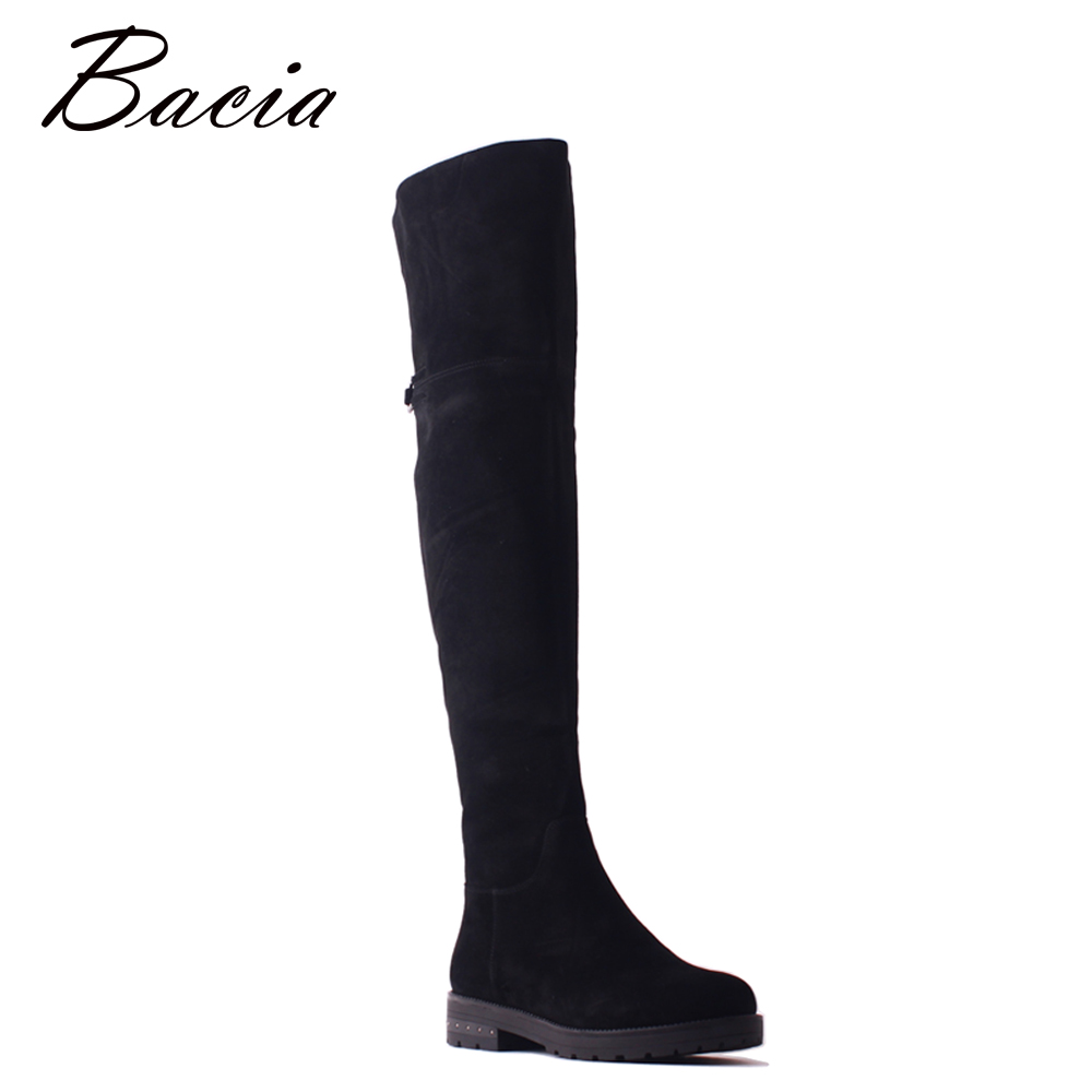 Bacia Sheep Suede Over Knee Boots Black Thick Heels Women Long Shoes Round Toe Winter Wool Fur Genuine Leather High Boots SB099 zvq winter knee high boots woman mid heel round toe ladies warm shoes real fur genuine leather foot upper women boots heels