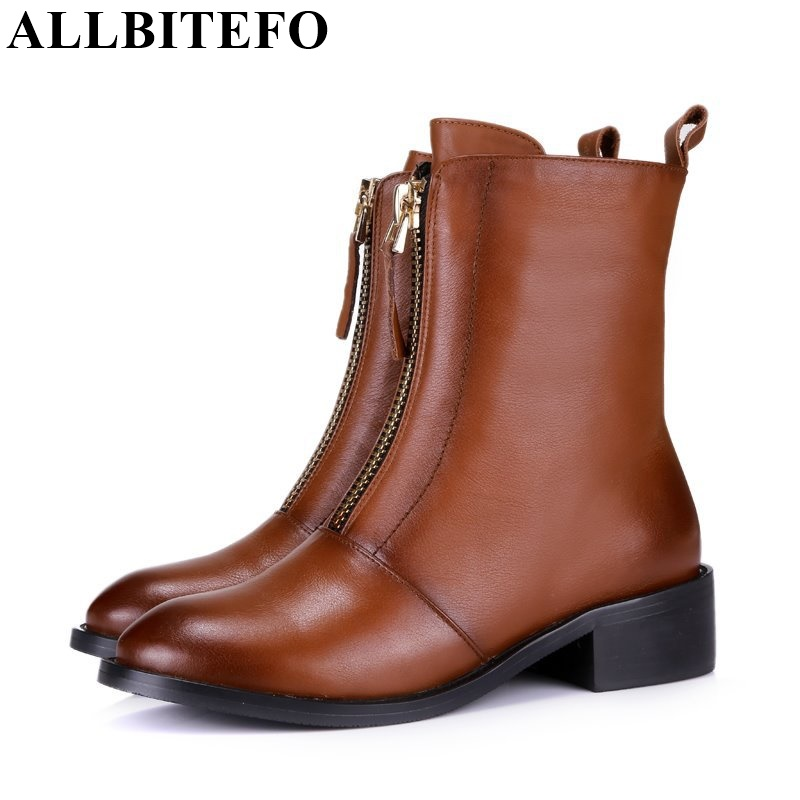 ALLBITEFO fashion flat heel casual zipper ankle boots genuine leather round toe platform leather boots autumn winter women boots