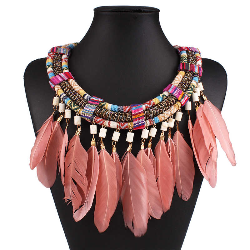 Handmade feather necklaces for women vintage necklaces & pendants long chain pink feathers necklace