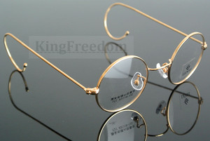 Image 4 - 42mm Vintage Round Gold Wire Rim Eyeglass Frame Spectacles Glasses Rx able 727
