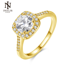 INALIS Wedding rings for women White Gold/Glod/Rose Gold Color jewelry rings Engagement square bague zirconia Accessories