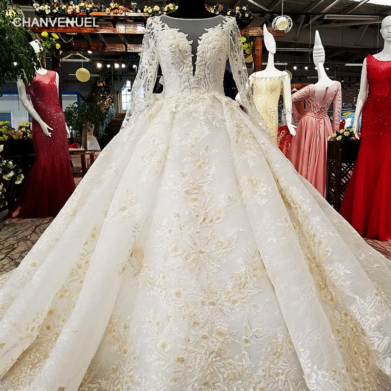 LS68110 big puffy skirt ball gown champagne wedding dress 2018 o neck tulle long sleeve bridal dress for wedding china online Платье