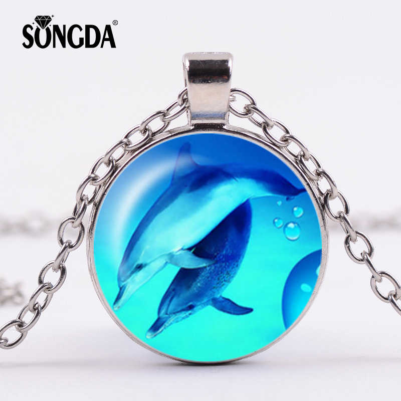 SONGDA Lovely Dolphin Necklace Children 4 Colors Long Chain Fashion Ocean World Style Handmade Art Photo Glass Cabochon Jewelry