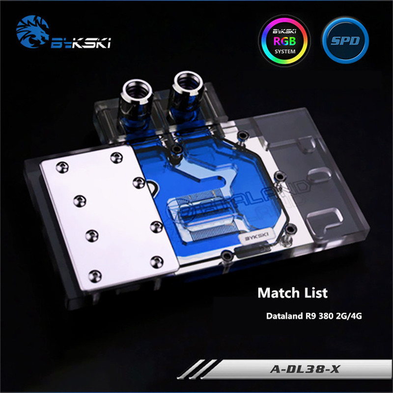 Bykski Full Coverage GPU Water Block For Dataland R9 380 2G/4G Powercolor Graphics Card A-DL38-X