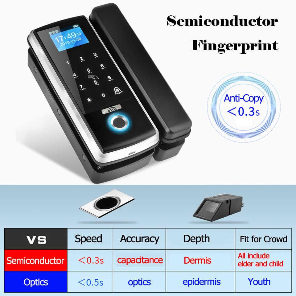 Intelligente Della Porta di Impronte Digitali Serratura Elettronica Digitale Apri del Cancello Elettrico RFID Biometrico Di Impronte Digitali di sicurezza di Vetro Carta di Password