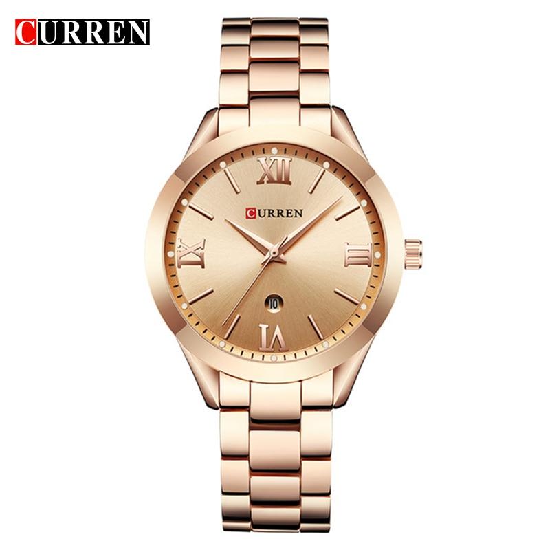 Reloj de oro CURREN para mujer relojes de pulsera de acero 9007 para mujer relojes reloj femenino Montre Mujer