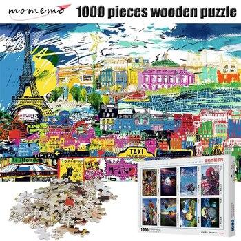 MOMEMO Cartoon Paris Puzzle Toys Wooden 1000 Pieces Puzzle Jigsaw Cartoon Painting Adult Puzzles Landscape Puzzle Game Kids Toys